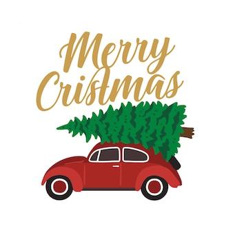 Carro vermelho carregando árvore de natal