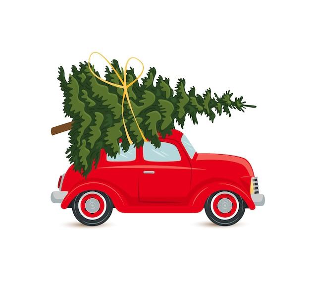 Carro vermelho com árvore de natal, cartão postal isolado no fundo branco. ilustração vetorial, estilo simples.