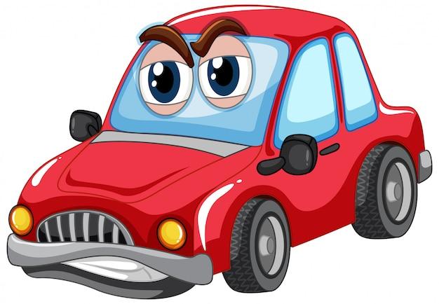 Carro vermelho com caráter de papelão de olhos grandes isolado