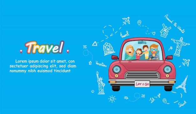 Carro vermelho com check-in conceito de viagem ao redor do mundo no fundo do coração azul design.