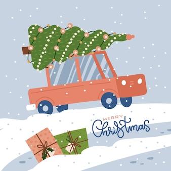 Carro vermelho com uma árvore de natal no telhado, dirigindo em uma estrada de neve e um cartão de felicitações de monte de neve com ...