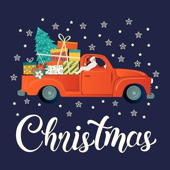 Carro vermelho do vintage com papai noel, árvore de natal e caixas de presente.