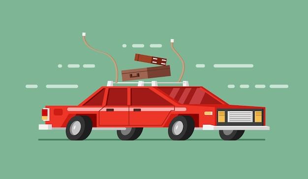 Carro vermelho em movimento com bagagem e bagagem. viajando de carro