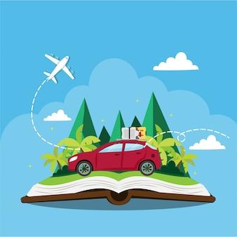 Carro viajando em livro