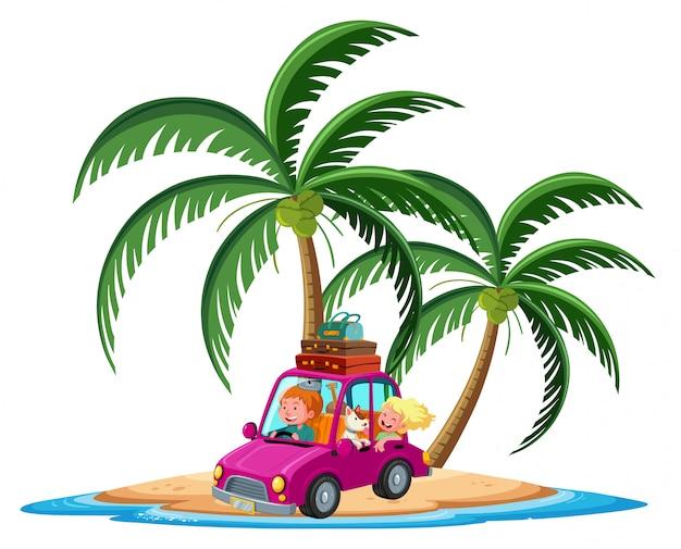 Carro viajando no personagem de desenho animado ilha tropical em fundo branco