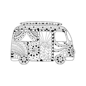 Carro vintage hippie uma mini van em estilo zentangle para adulto anti-stress.