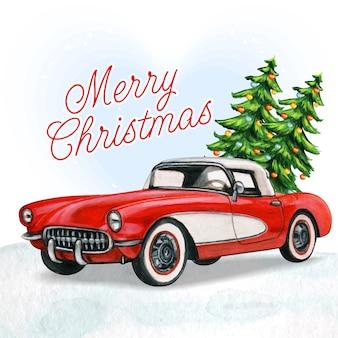Carro vintage vermelho elegante com árvores de natal e neve
