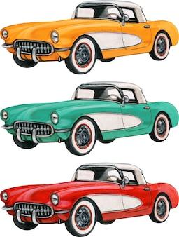 Carros antigos coloridos desenhados à mão em aquarela