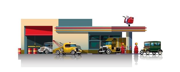 Carros antigos esperando para reabastecer no posto de gasolina