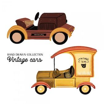 Carros antigos mão coleção desenhada