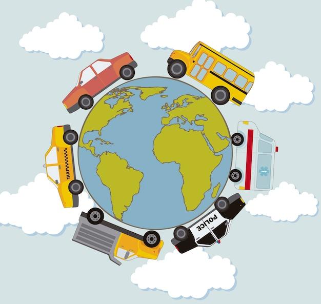 Carros ao longo do planeta em vetor de transporte de forma circular