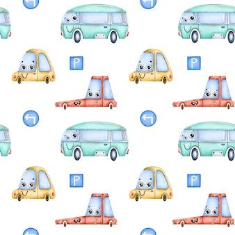 Carros bonito dos desenhos animados e sem costura padrão de sinais de trânsito