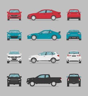 Carros coloridos de vetor de lados diferentes