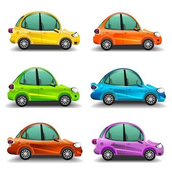Carros coloridos dos desenhos animados