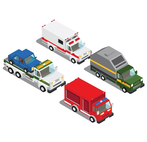 Carros coloridos em vista 3d isométrica