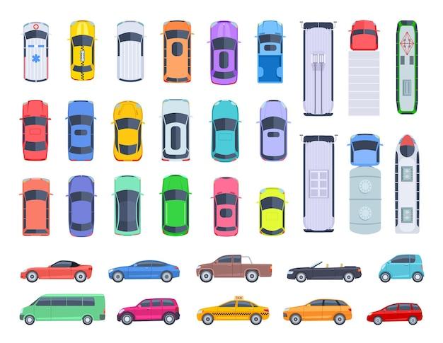 Carros com vista lateral superior. transporte de automóveis, tejadilho de camiões e automóveis para transporte de veículos. conjunto de vetores de transporte público e privado. ilustração do carro automotivo acima da vista, caminhão de transporte, van e máquina