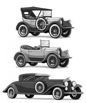 Carros conversíveis de luxo vintage retrô dos desenhos animados