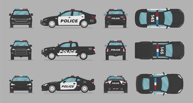 Carros da polícia americana de diferentes lados