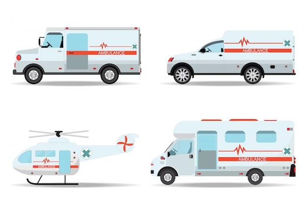 Carros de ambulância e ambulância de emergência de helicóptero.