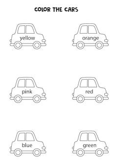 Carros de cor preto e branco. planilha para crianças.