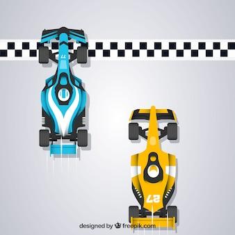 Carros de corrida de fórmula 1 cruzando a linha de chegada