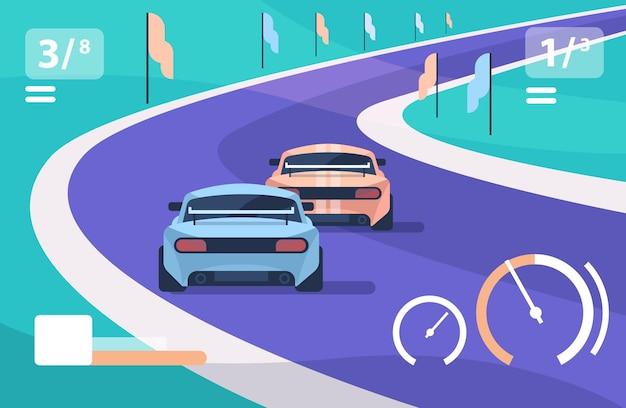 Carros de corrida dirigindo estrada on-line plataforma conceito de nível de videogame tela de computador ilustração vetorial horizontal