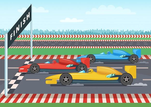 Carros de corrida na linha de chegada. ilustração de fundo do esporte. vencedor de velocidade de carro, vetor de linha de acabamento quadriculada