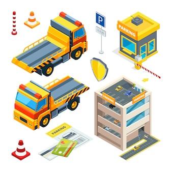 Carros de estacionamento e evacuação.