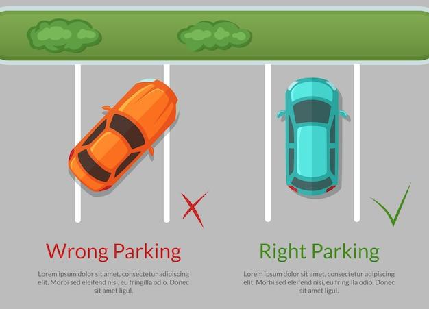 Carros de estacionamento errados e certos