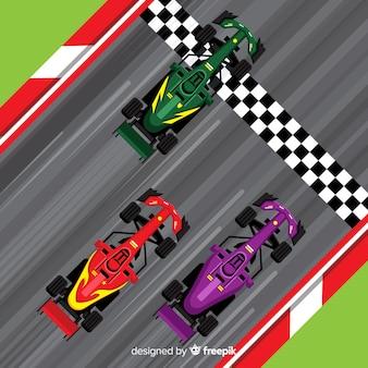 Carros de fórmula 1 cruzando a linha de chegada
