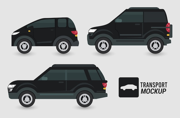 Carros de maquete cor preta isolados.