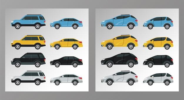 Carros de maquete definir cores isoladas.