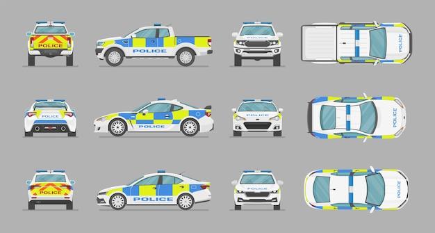 Carros de polícia ingleses de lados diferentes