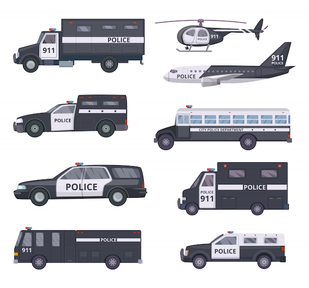Carros de polícia. serviços de proteção de veículos automóveis