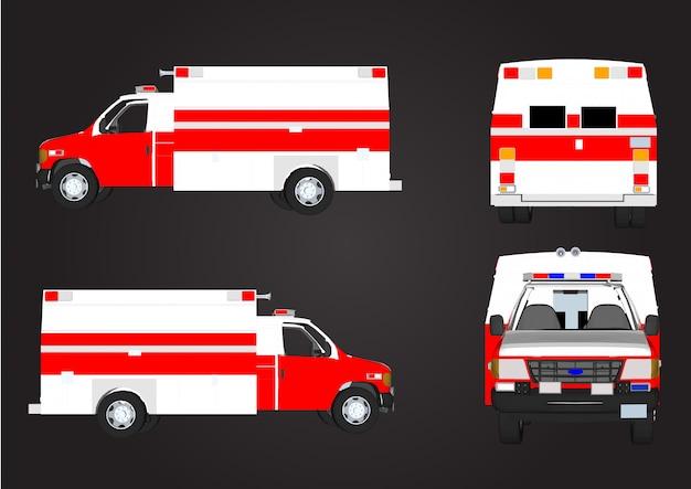 Carros de resgate vermelho vetor isolados