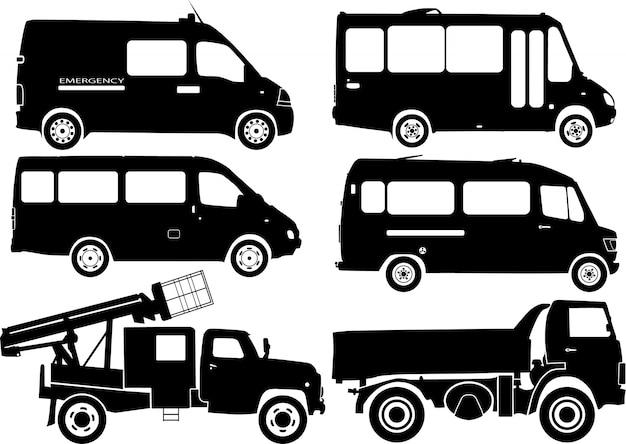 Carros de silhueta, vetor