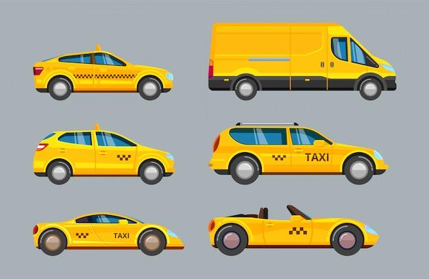 Carros de táxi. coleção de serviço transporte de táxi amarelo