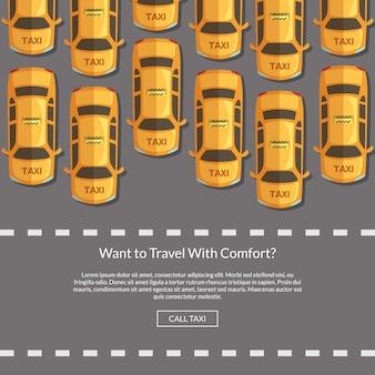 Carros de táxi de vetor na estrada