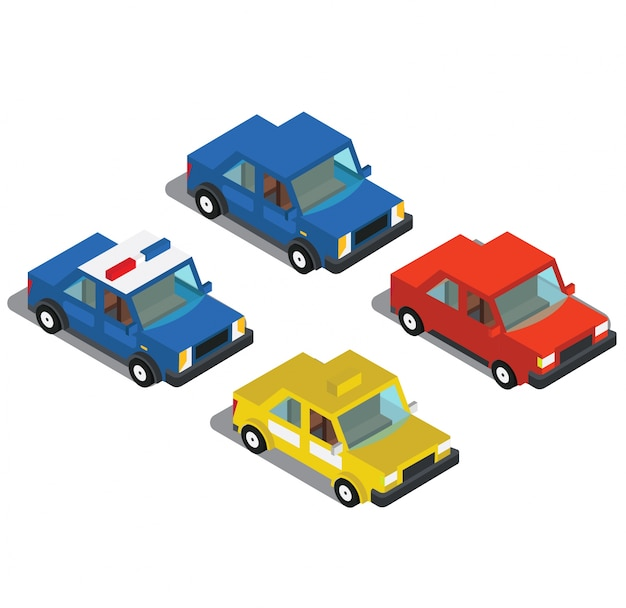 Carros de táxi e um carro de polícia