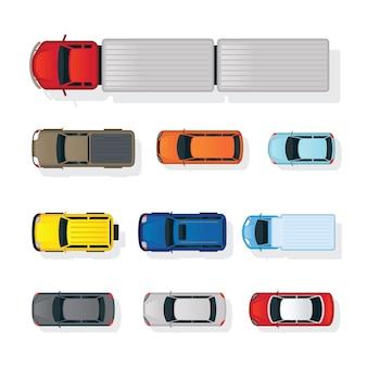 Carros de vários tipos conjunto de vista superior ou superior