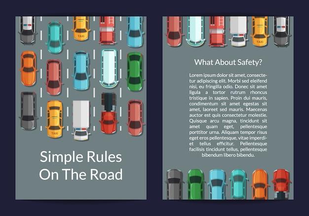 Carros de vetor no cartão de vista superior da estrada