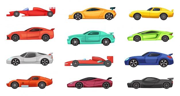 Carros desportivos diferentes isolados no branco. ilustrações vetoriais de pilotos na estrada