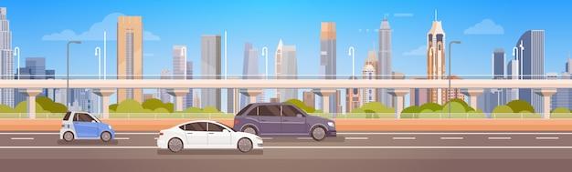 Carros, dirigindo, rua cidade, panorama, estrada urbana