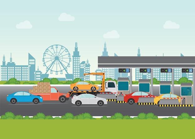 Carros do motorista que passam através de pagar o pedágio da estrada no pedágio da estrada