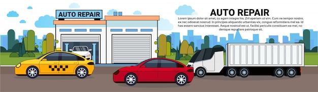 Carros e caminhão na estrada sobre banner horizontal garagem de serviço de reparação de automóveis