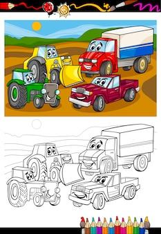 Carros e caminhões de desenhos animados para caderno de colorir