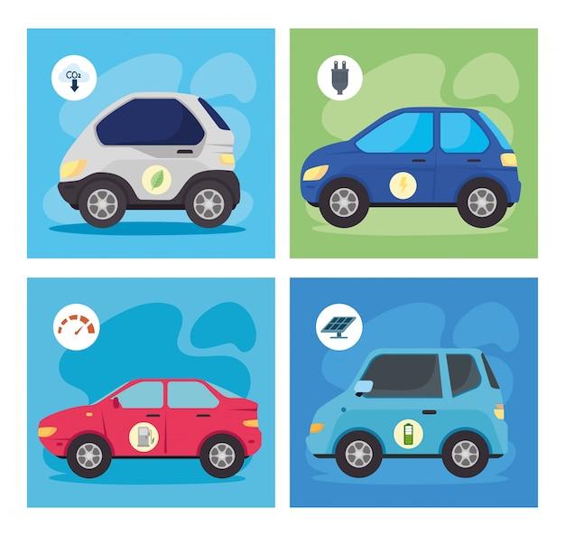 Carros ecológicos e elétricos dentro de quadros vector design