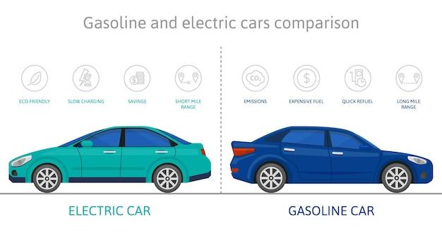Carros elétricos ecológicos e comparação de carros a gasolina. conjunto de ilustração vetorial vantagem de proteção de ambiente elétrico auto. infográfico de comparação de gasolina, carro elétrico
