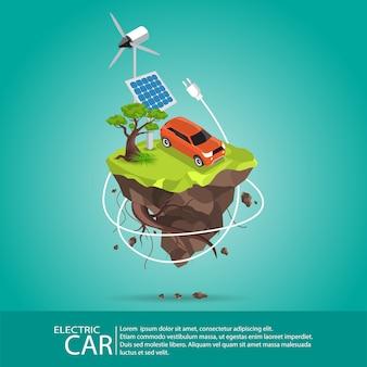Carros elétricos isométricos