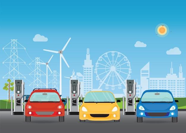 Carros elétricos que cobram na estação de carregador